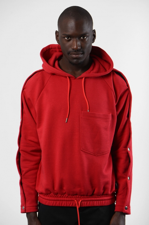 NYCOLE Snap Sleeves Red Hoodie 1