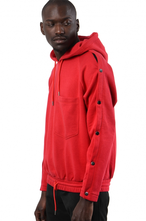 NYCOLE Snap Sleeves Red Hoodie 0