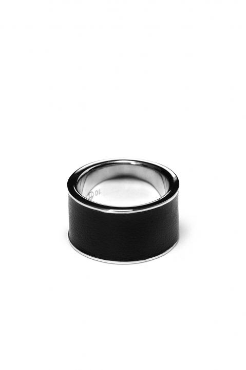 MAISON MARGIELA Silver & Leather Ring 0