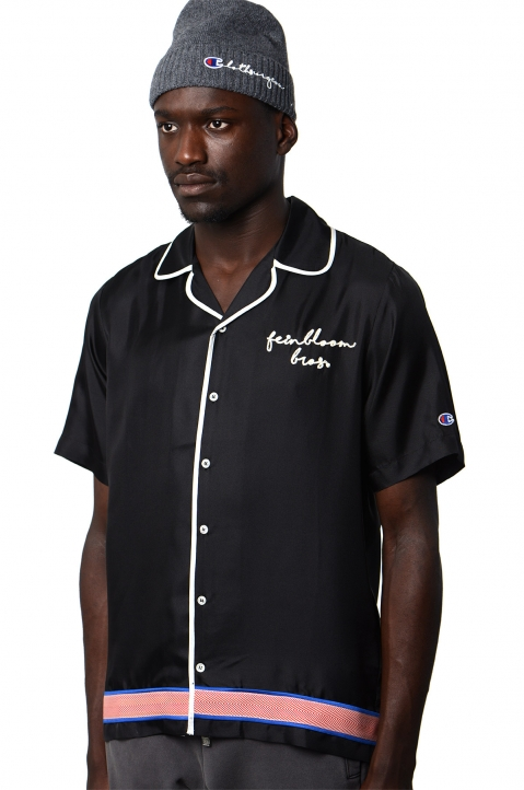 CHAMPION X CLOTHSURGEON Black Silk Bowling Shirt 0