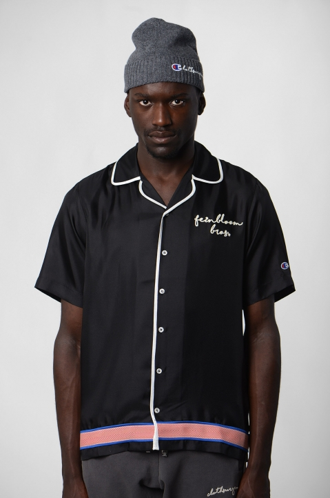 CHAMPION X CLOTHSURGEON Black Silk Bowling Shirt 1