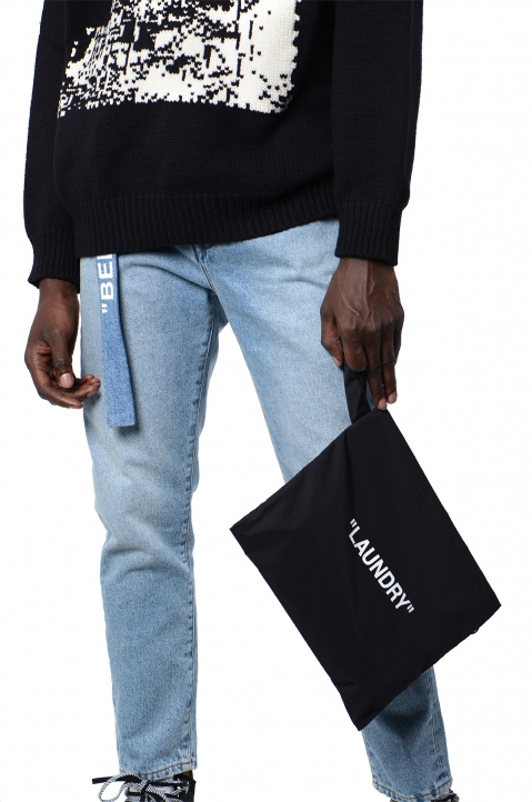 "OFF-WHITE Black ""LAUNDRY"" Pouch 2"