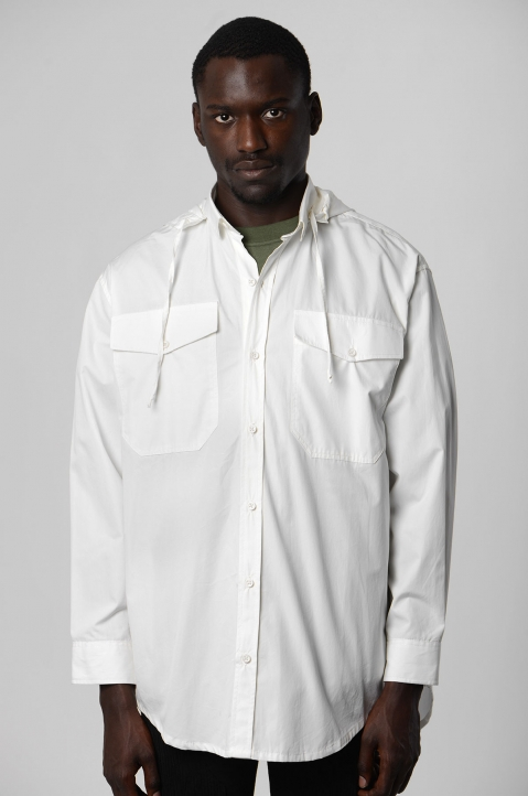 DAVID CATALÁN White Hooded Shirt 1