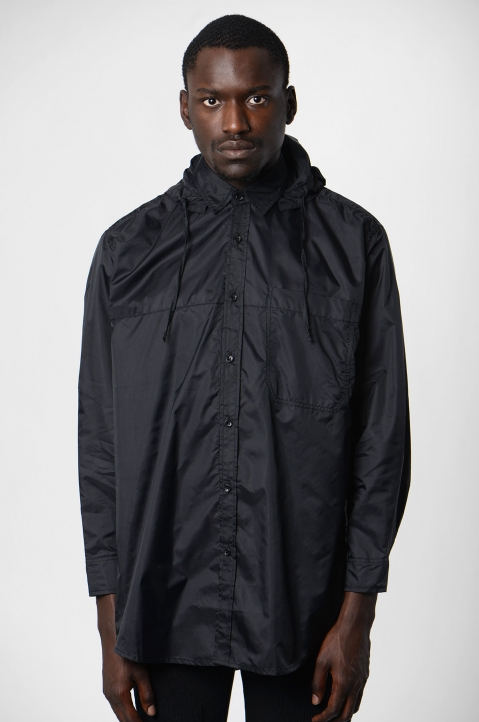DAVID CATALÁN Black Nylon Hooded Shirt 1