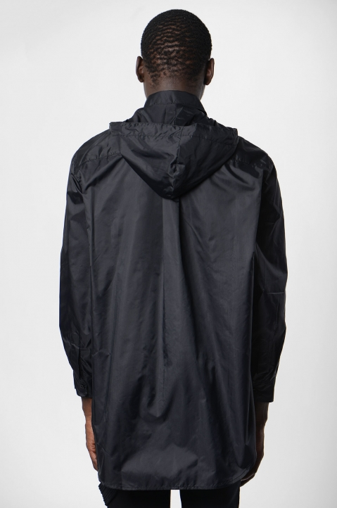 DAVID CATALÁN Black Nylon Hooded Shirt 2