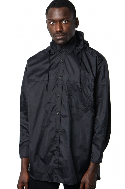 DAVID CATALÁN Black Nylon Hooded Shirt 0