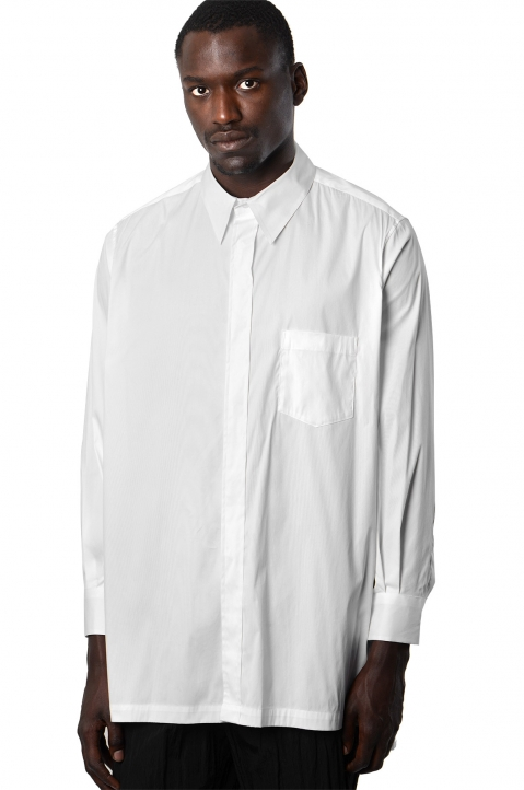 FUMITO GANRYU White Embroidery Side Line Shirt 0