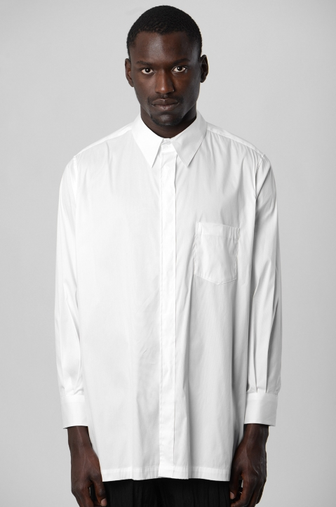 FUMITO GANRYU White Embroidery Side Line Shirt 1
