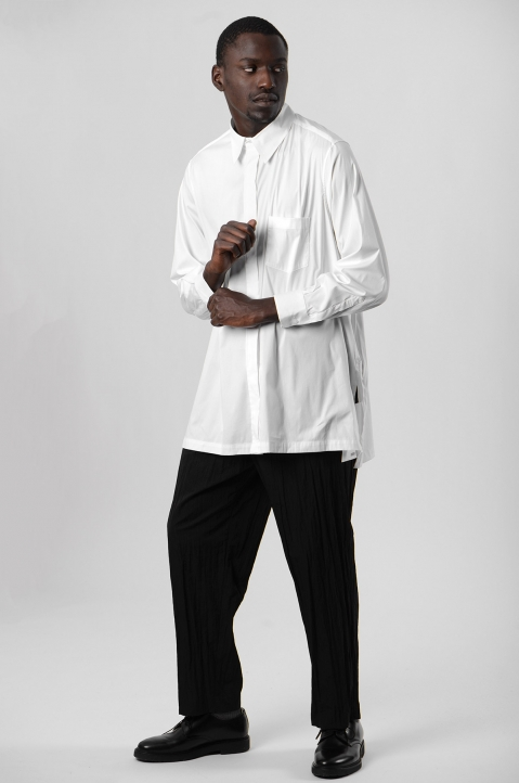 FUMITO GANRYU White Embroidery Side Line Shirt 4