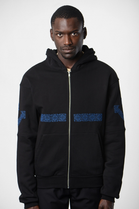 ADISH Black Embroidered Hoodie 1