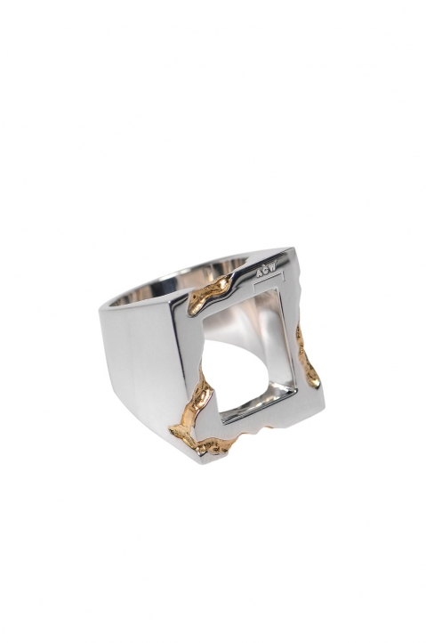 A-COLD-WALL* Oversized Square Gold Leaf Ring 0
