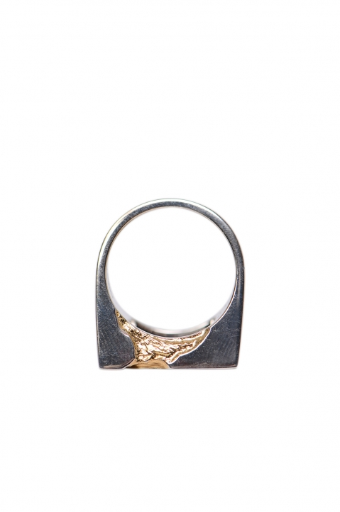 A-COLD-WALL* Oversized Square Gold Leaf Ring 1