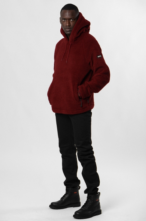 NAPA by MARTINE ROSE Burgundy Fleece Hoodie 3