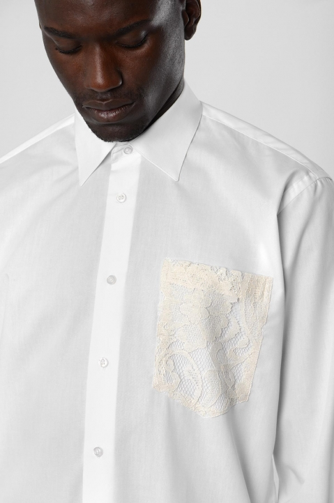 INÊS TORCATO Lace Pocket White Shirt 3