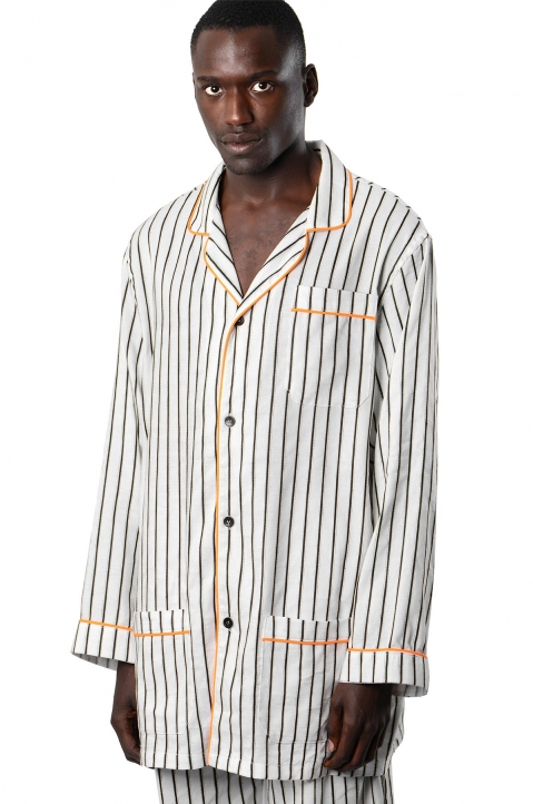 DAVID CATALÁN White striped Pyjama Overshirt  0