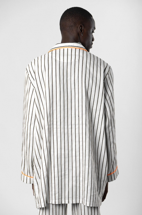 DAVID CATALÁN White striped Pyjama Overshirt  2