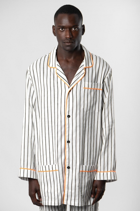 DAVID CATALÁN White striped Pyjama Overshirt  1