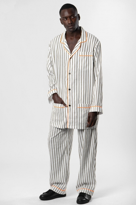 DAVID CATALÁN White striped Pyjama Overshirt  3