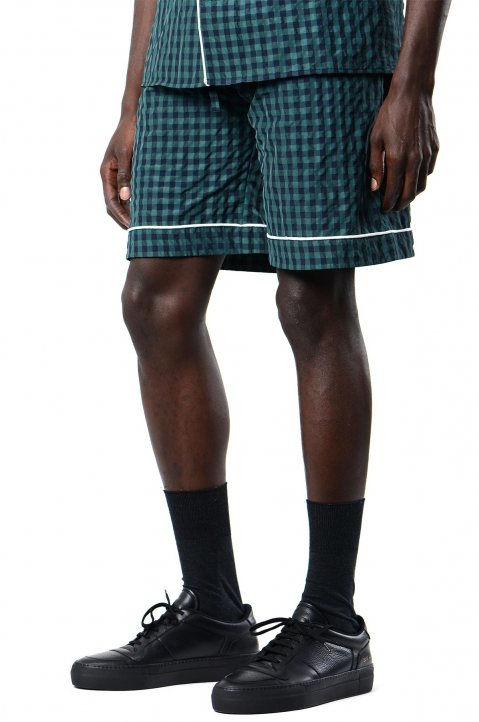 DAVID CATALÁN Navy/Green Checked Pyjama Shorts 0