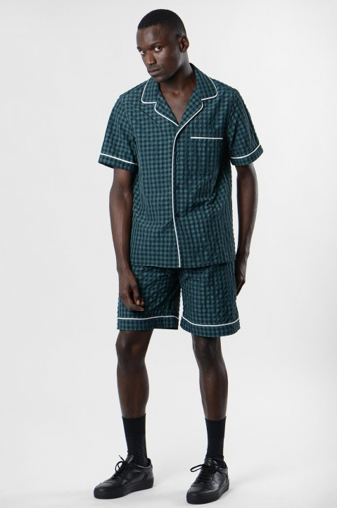 DAVID CATALÁN Navy/Green Checked Pyjama Shorts 3