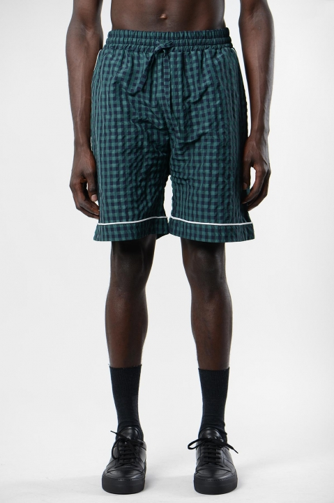 DAVID CATALÁN Navy/Green Checked Pyjama Shorts 1