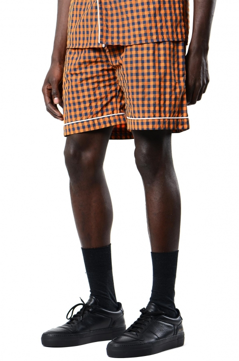 DAVID CATALÁN Navy/Orange Checked Pyjama Shorts 0