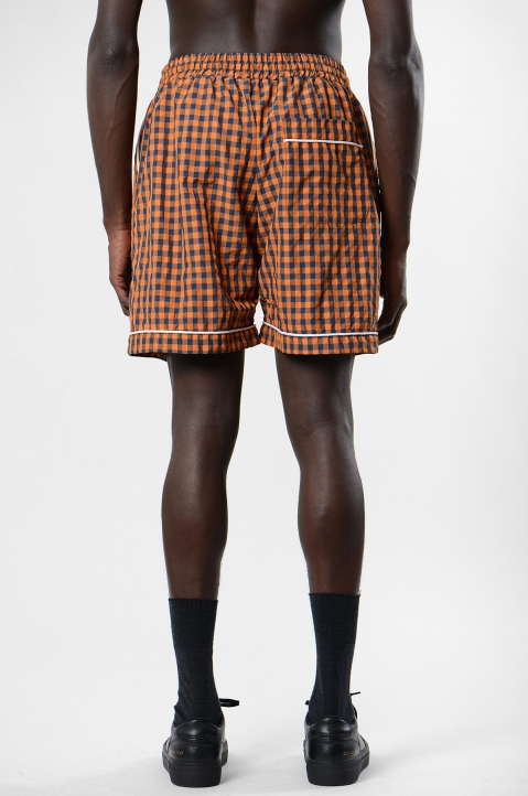 DAVID CATALÁN Navy/Orange Checked Pyjama Shorts 2
