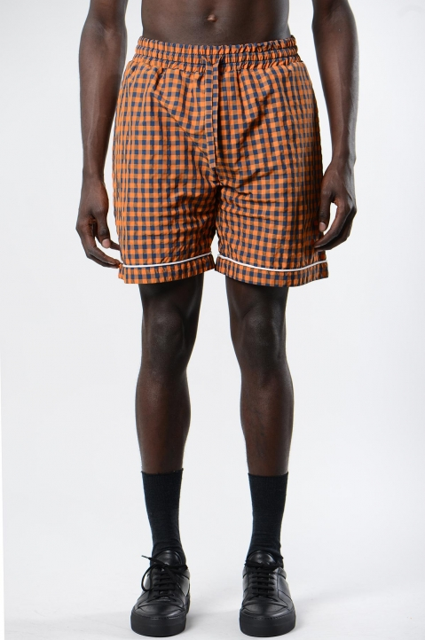 DAVID CATALÁN Navy/Orange Checked Pyjama Shorts 1