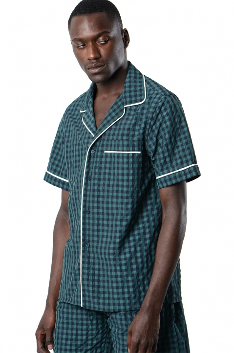 DAVID CATALÁN Navy/Green Checked Pyjama Short-Sleeve Shirt 0