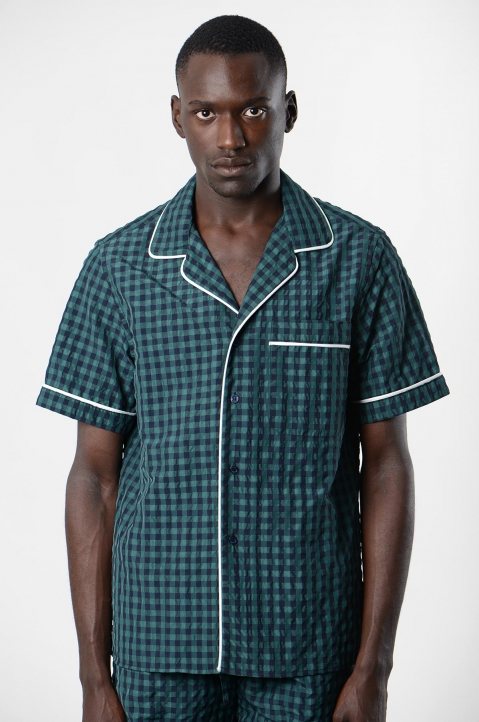 DAVID CATALÁN Navy/Green Checked Pyjama Short-Sleeve Shirt 1