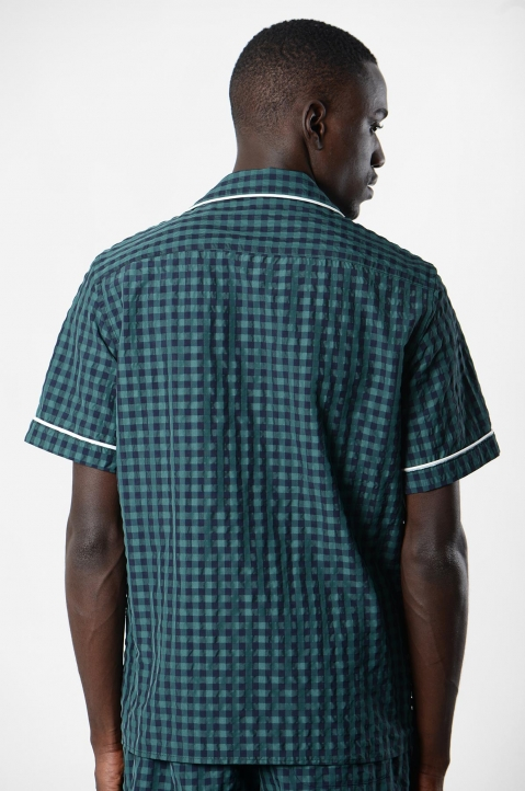 DAVID CATALÁN Navy/Green Checked Pyjama Short-Sleeve Shirt 2