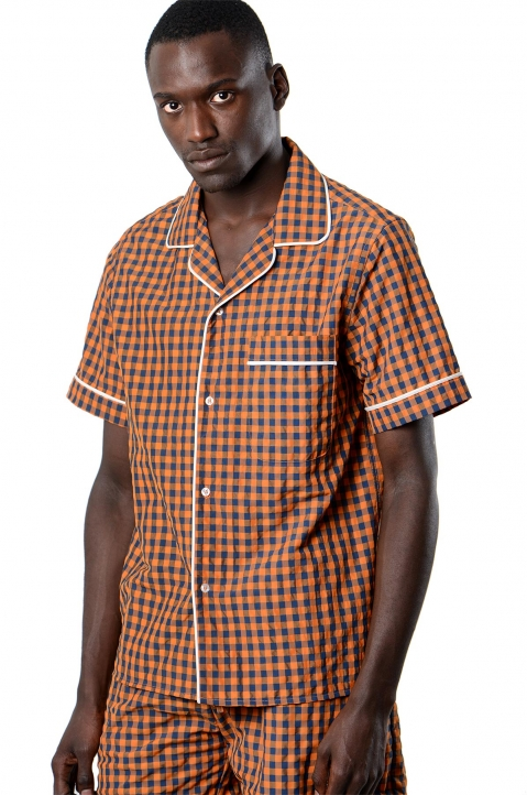 DAVID CATALÁN Navy/Orange Checked Pyjama Short-Sleeve Shirt 0