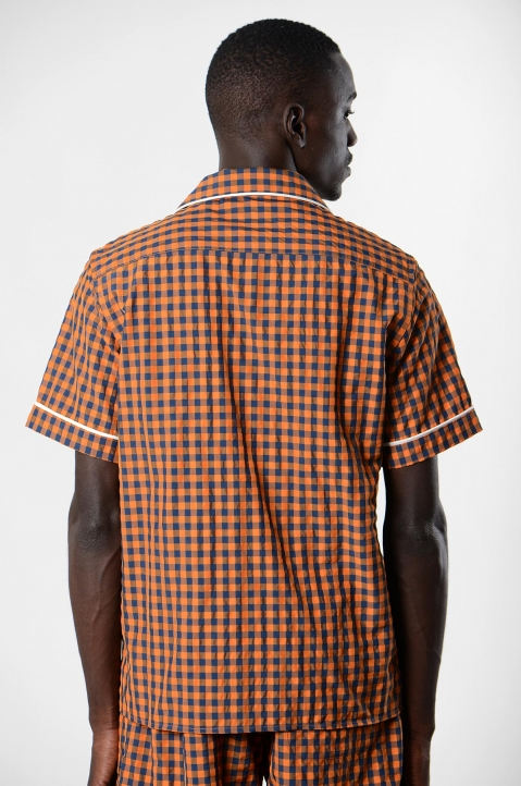DAVID CATALÁN Navy/Orange Checked Pyjama Short-Sleeve Shirt 1