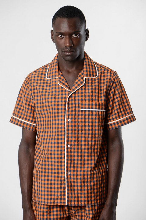DAVID CATALÁN Navy/Orange Checked Pyjama Short-Sleeve Shirt 2
