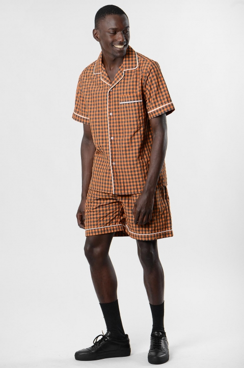 DAVID CATALÁN Navy/Orange Checked Pyjama Short-Sleeve Shirt 3