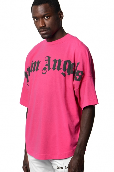 PALM ANGELS Fucsia Logo Tee 0