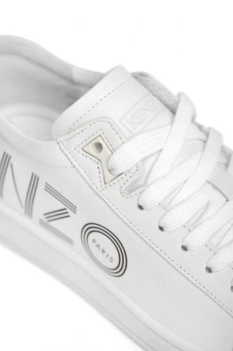 KENZO White Leather Low Top Sneakers 3
