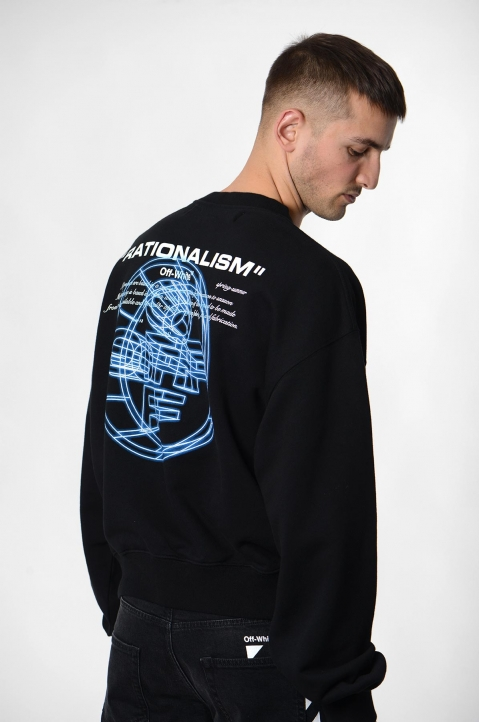 OFF-WHITE 3-D Crossed Black Sweatshirt  2