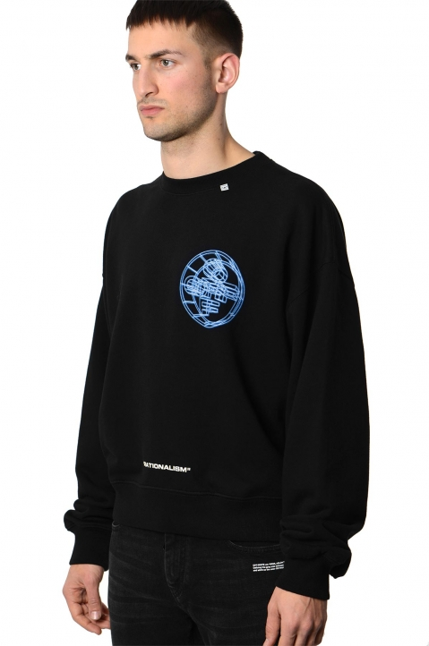 OFF-WHITE 3-D Crossed Black Sweatshirt  0