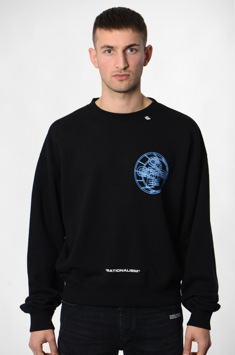 OFF-WHITE 3-D Crossed Black Sweatshirt  1