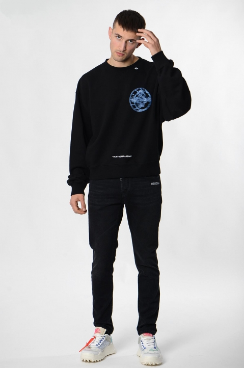 OFF-WHITE 3-D Crossed Black Sweatshirt  3
