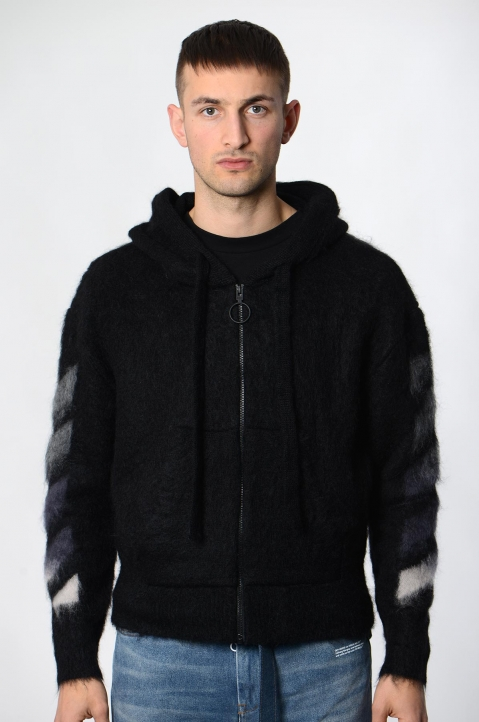 OFF-WHITE Black Mohair Hoodie  1