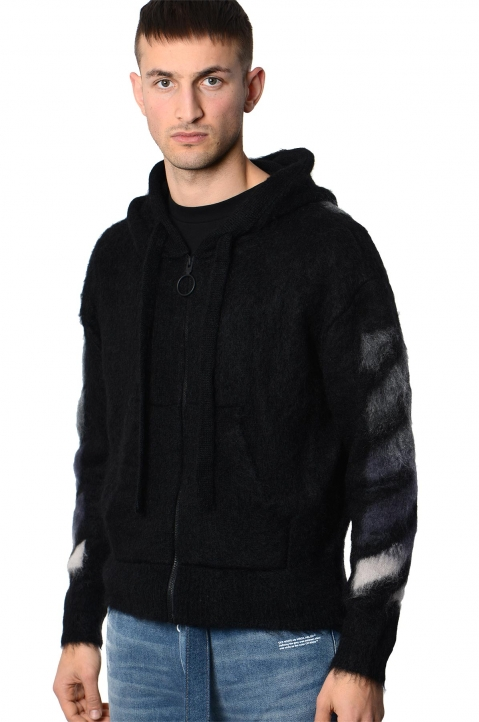OFF-WHITE Black Mohair Hoodie  0