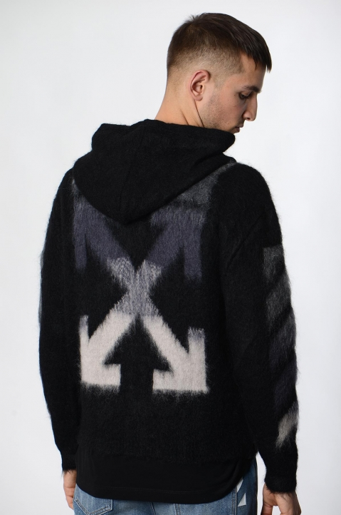 OFF-WHITE Black Mohair Hoodie  2