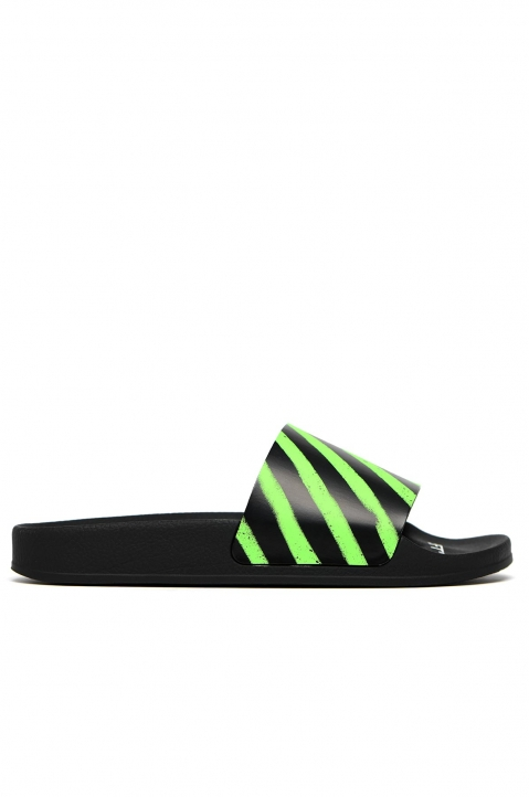 OFF-WHITE Green Spray Stripes Sliders 0