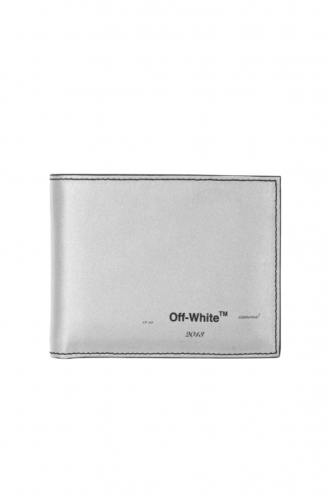 OFF-WHITE Logo Bifold Wallet Silver  0