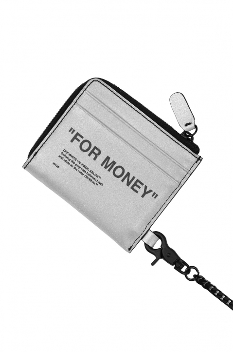 OFF-WHITE Quote Chain Wallet Silver  1
