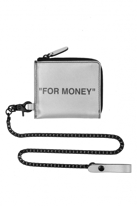 OFF-WHITE Quote Chain Wallet Silver  0