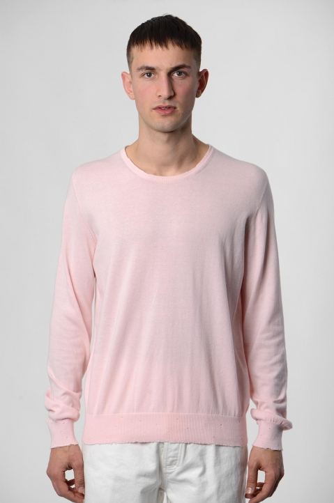 MAISON MARGIELA Distressed Pink Knit Sweater 1