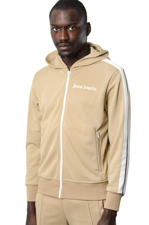 PALM ANGELS Beige Hooded Track Jacket 0